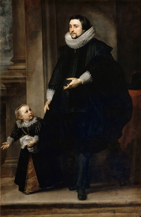Anthony van Dyck -- Portrait of a man of quality and his son. Part 2 Louvre
