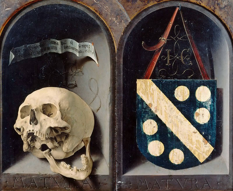 Jan Gossaert -- Diptych of Jean Carondelet, reverse, Vanitas depicting a skull with a dislocated jaw , Carondelet's Coat of Arms [right]. Part 2 Louvre (left)