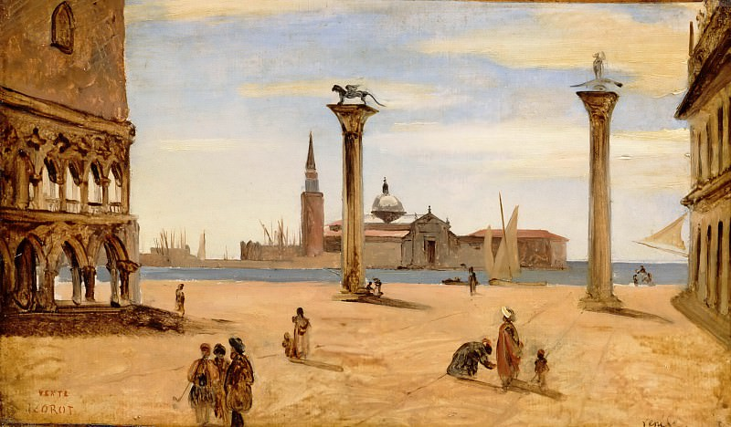 Jean-Baptiste-Camille Corot -- Venice, the Piazzetta. Part 2 Louvre