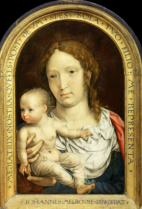 Jan Gossaert (c. 1478-1532) -- Carondelet Diptych, right panel: Virgin and Child. Part 2 Louvre