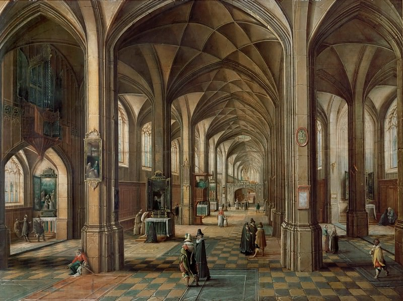 Hendrick van Steenwijck the younger -- Interior of a Church with a Family on the First Level. Part 2 Louvre