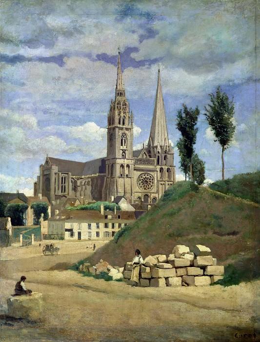 Corot, Jean-Baptiste Camille -- La cathedrale de Chartres, 1830 Canvas, 64 x 51, 5 cm R.F. 1614. Part 2 Louvre