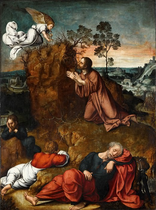 Bernaert van Orley -- Christ in the Garden of Olives, with the sleeping Apostles. Part 2 Louvre