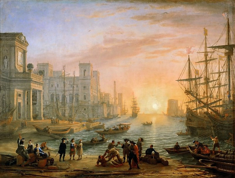 Claude Lorrain -- Seaport at Sunset. Part 2 Louvre
