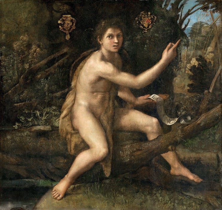 Raphael -- Saint John the Baptist in the Desert Indicating the Cross of the Passion. Part 2 Louvre