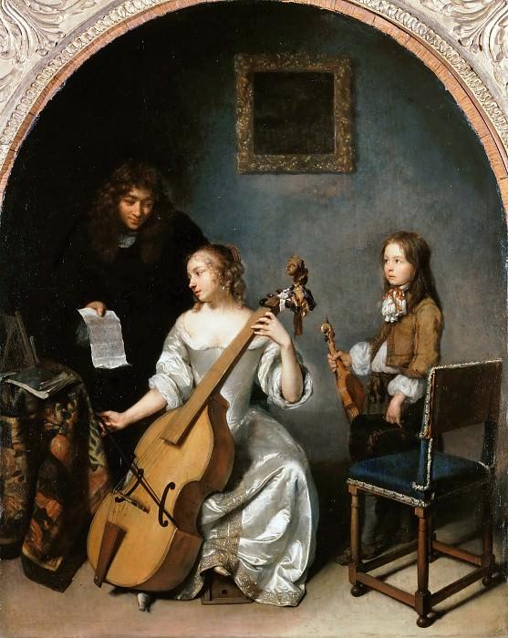 Caspar Netscher -- Playing the bass viola. Part 2 Louvre