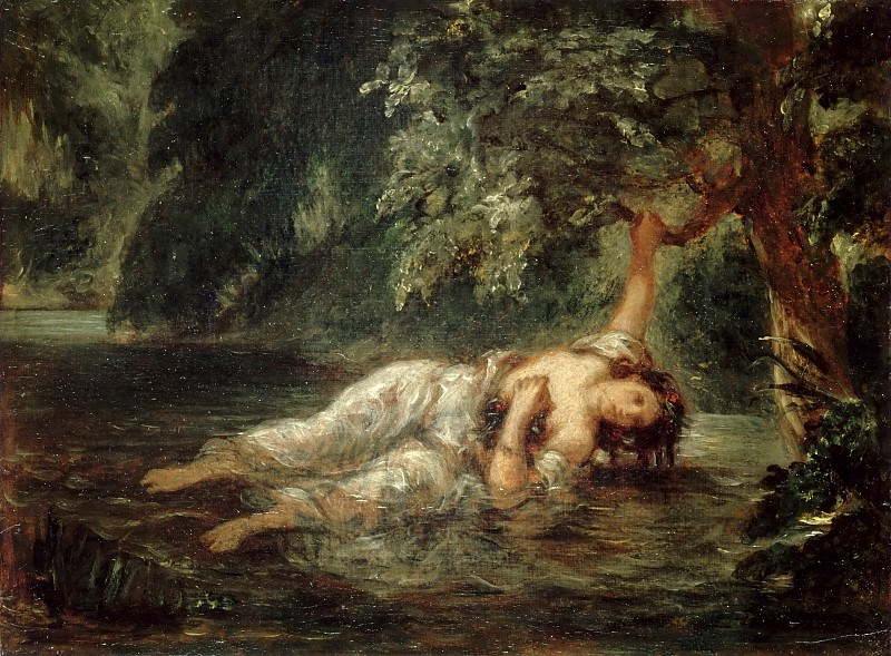 Eugène Delacroix -- The Death of Ophelia. Part 2 Louvre