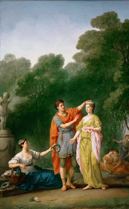 Joseph-Marie Vien -- A lover crowning his beloved. Part 2 Louvre