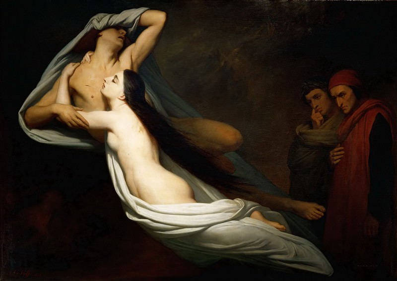 Ary Scheffer (1795-1858) -- The Shades of Francesca da Rimini and Paolo Malatesta Appear to Dante and Virgil. Part 2 Louvre