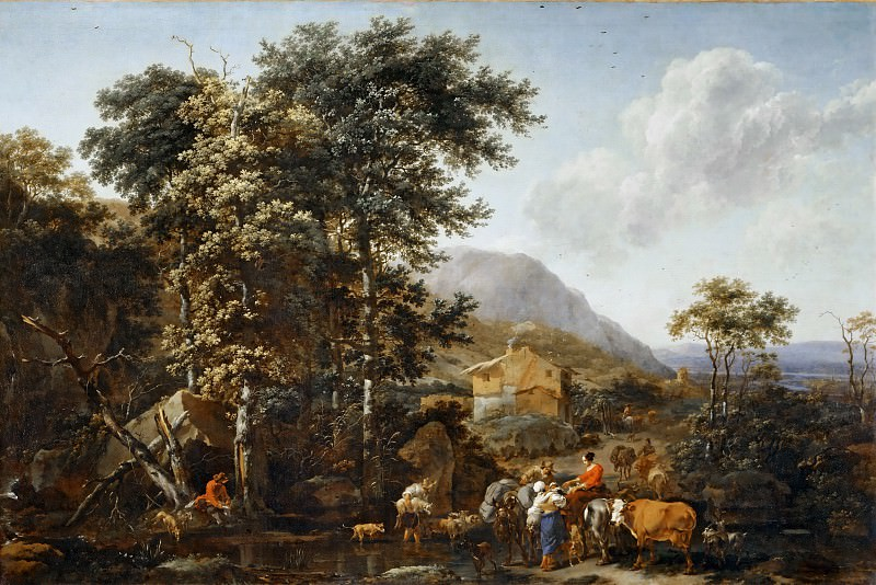 Nicolaes Berchem the Elder (1620-1683) -- Landscape with Large Trees. Part 2 Louvre