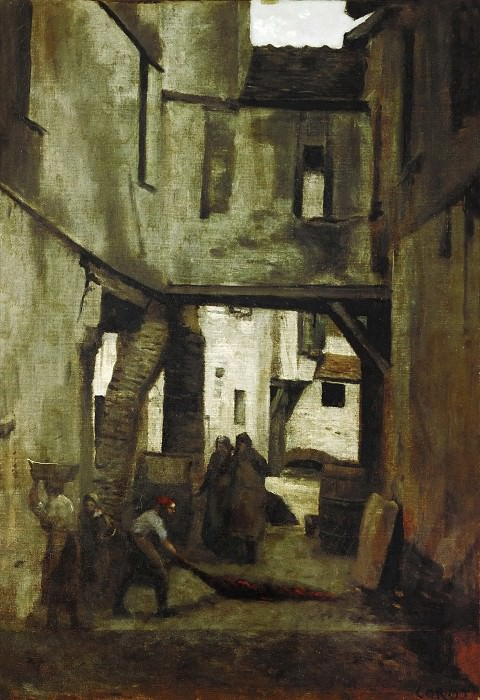 Corot, Jean-Baptiste Camille -- The tanneries of Mantes, France. Oil on canvas (1783) 61 x 43 cm RF 1624. Part 2 Louvre