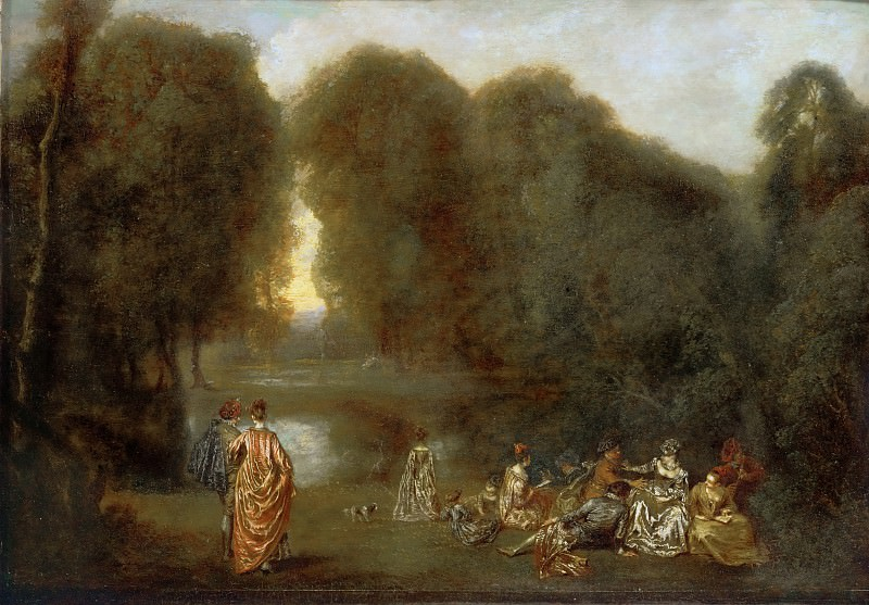 Ватто, Жан-Антуан (1684 Валансьен - 1721 Ножан-сюр-Марн) -- Общество в парке. Part 2 Louvre