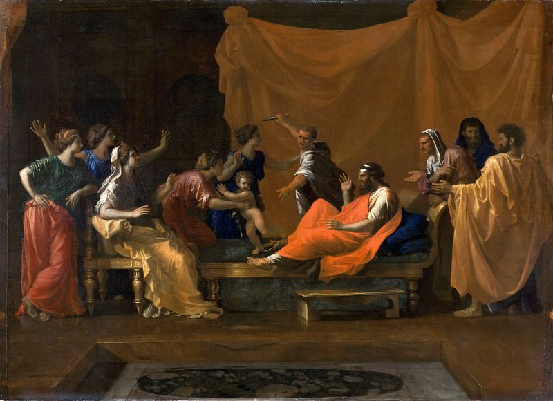 Nicolas Poussin -- The infant Moses trampling Pharoah's crown. Part 2 Louvre