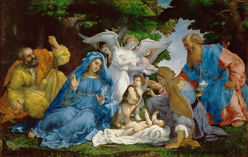Lorenzo Lotto -- Holy Family with three angels, young Saint John the Baptist, Saints Elizabeth and Zachary. Part 2 Louvre