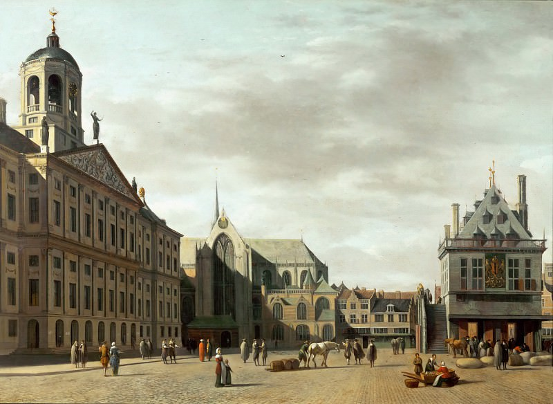 Gerrit Adriaensz. Berckheyde (1638-1698) -- Dam Street and the New City Hall of Amsterdam. Part 2 Louvre