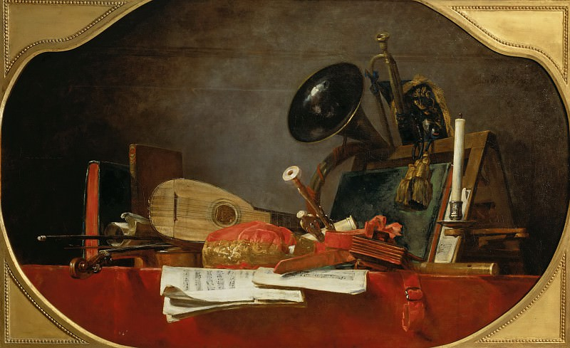 Шарден, Жан-Батист-Симеон (Париж 1699-1779) -- Натюрморт с атрибутами музыки. часть 2 Лувр