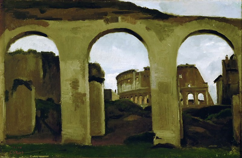 Коро, Жан-Батист-Камиль (Париж 1796-1875) -- Вид Колизея сквозь аркаду базилики Константина, 1825, 23х35. Part 2 Louvre