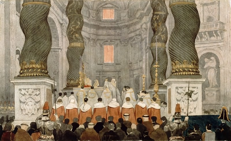 Attributed to Jean-Auguste-Dominique Ingres -- Pontifical Mass at Saint Peter's Basilica in Rome, beneath the baldachin by Bernini. Part 2 Louvre