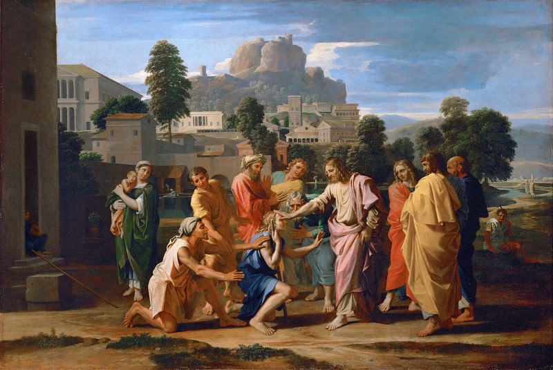Nicolas Poussin -- Christ Healing the Blind of Jericho (Christ Healing the Sick). Part 2 Louvre