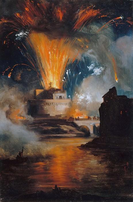 Achille Etna Michallon -- Fireworks at the Castel Sant'Angelo. Part 2 Louvre