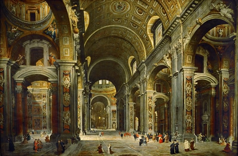 Giovanni Paolo Panini -- Cardinal Melchior de Polignac visiting the basilica of Saint Peter's, Rome. Part 2 Louvre