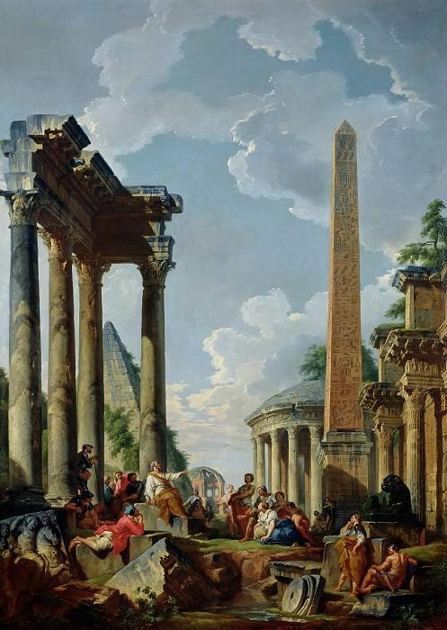 Giovanni Paolo Panini -- Architectural capriccio with preacher in Roman ruins. Part 2 Louvre
