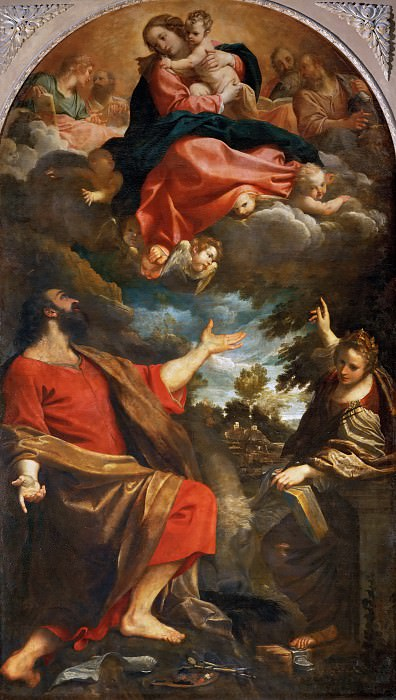 Annibale Carracci (1560-1609) -- Apparition of the Virgin to Saint Luke and Saint Catherine of Alexandria. Part 2 Louvre