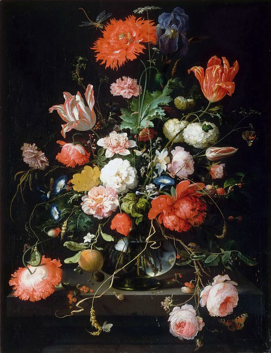Abraham Mignon -- Flowers in a crystal vase placed on a stone pedestal, with a dragonfly. Part 2 Louvre