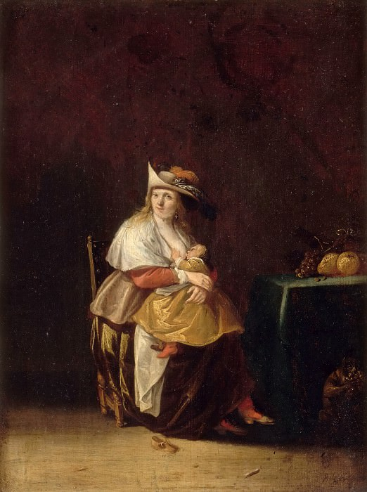 Anthonie Palamedesz -- Taste (woman nursing a child and monkey eating fruit). Part 2 Louvre