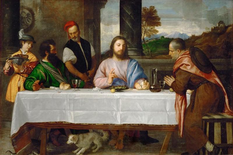 The Pilgrims at Emmaus. Titian (Tiziano Vecellio)