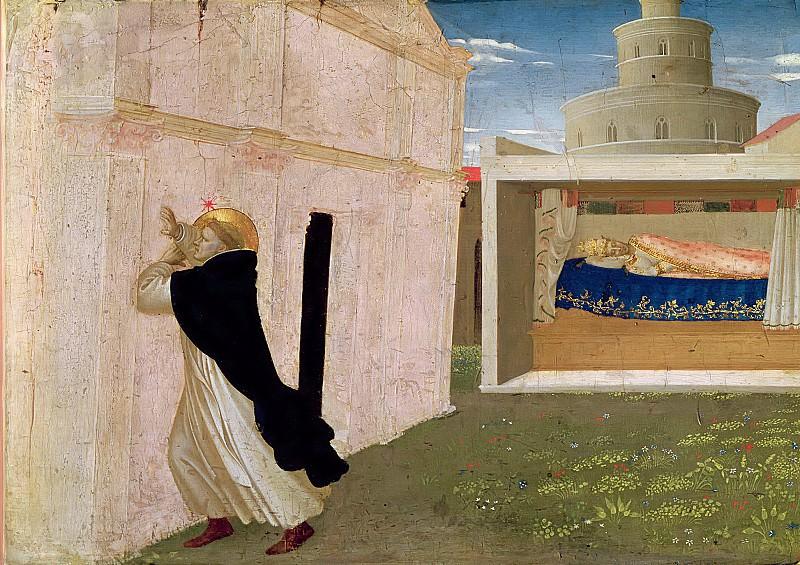 Анджелико, Фра (Гвидо ди Пьетро) (c.1400 Виккио нель Муджелло - 1455 Рим) -- Алтарь Коронования Марии, фрагмент пределлы - Сон папы Иннокентия III. Part 6 Louvre