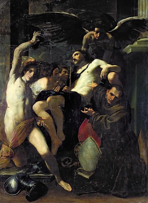 Бонони, Карло (Феррара 1569-1632) -- Христос, поддерживаемый ангелами, со святыми Себастьяном и Бонавентурой. Part 6 Louvre