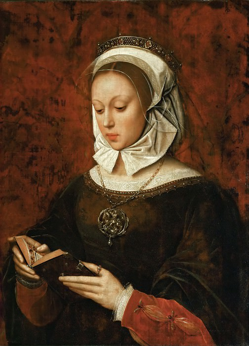 Ambrosius Benson (c. 1495-before 1550) -- Young Woman Reading a Book of Hours. Part 6 Louvre
