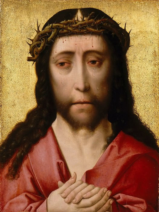 Studio of Dieric Bouts the Elder -- Head of Christ Crowned with Thorns (Man of Sorrows). Part 6 Louvre