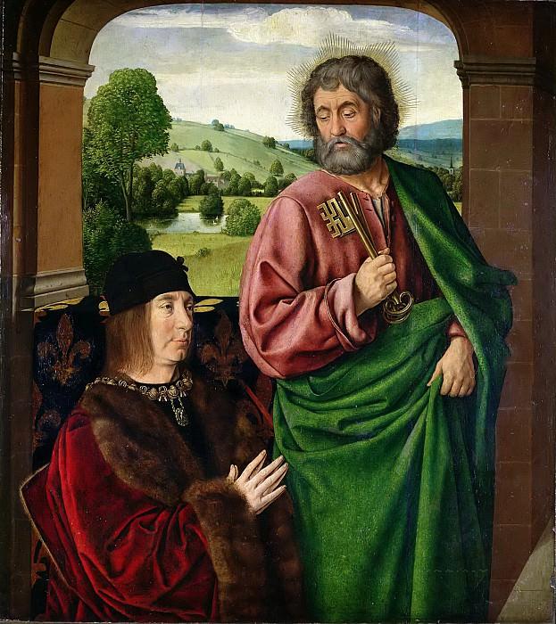 Хей, Жан (Мастер из Мулена) (работал в 1480-1500) -- Пьер II герцог Бурбонский (1439-1503) со святым Петром (левая створка триптиха). Part 6 Louvre
