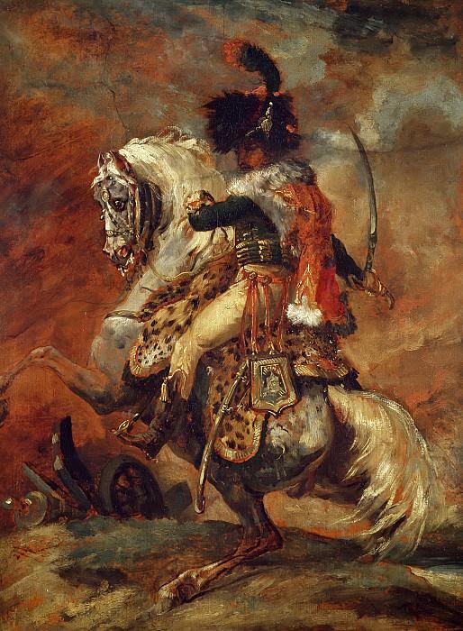 Жерико, Теодор (1791 Руан - 1824 Париж) -- Офицер конных егерей императорской гвардии, идущий в атаку. Part 6 Louvre