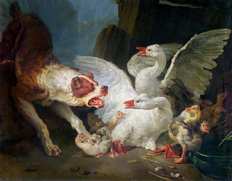 Юэ, Жан Батист (Париж 1745-1811) -- Нападение собаки на гусей. Part 6 Louvre