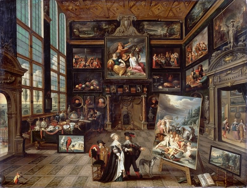 Cornelis de Baellieur -- Interior of a Collector's Cabinet (Kunstkammer; Interior of a Picture Gallery). Part 6 Louvre