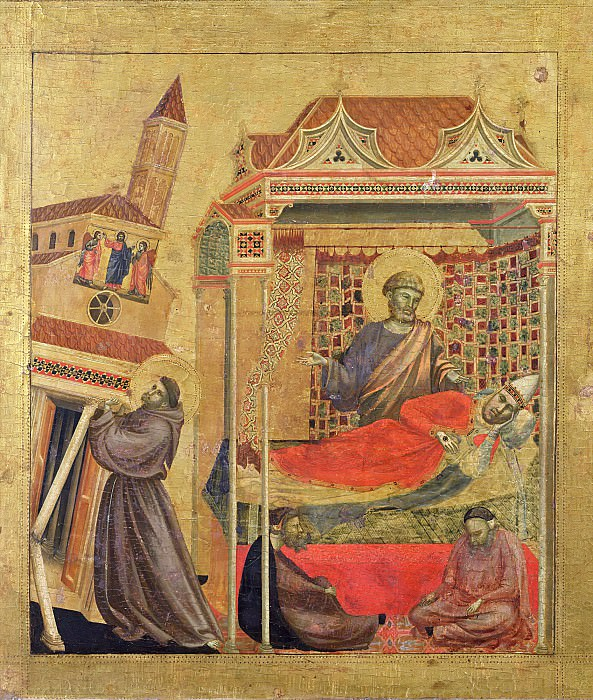 Saint Francis of Assisi Receiving the Stigmata, predella - The vision of Pope Innocent III. Giotto di Bondone