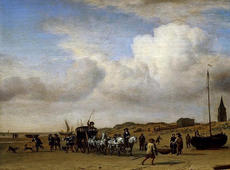 Вельде, Адриан ван де (Амстердам 1636-1672) -- Экипаж на берегу Схевенингена. Part 6 Louvre