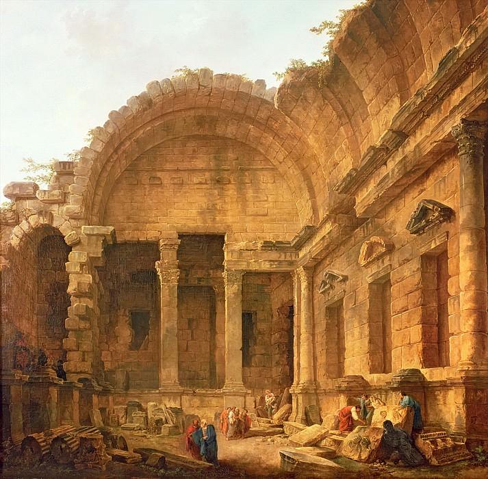 Робер, Юбер (Париж 1733-1808) -- Интерьер храма Дианы в Ниме. Part 6 Louvre