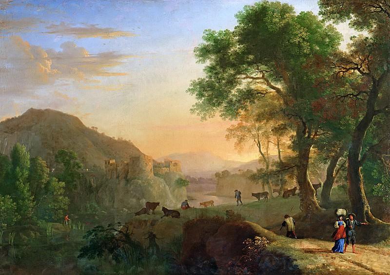 Сваневельт, Херман ван (c.1600 Вурден - 1655 Париж) -- Итальянский пейзаж на закате. Part 6 Louvre