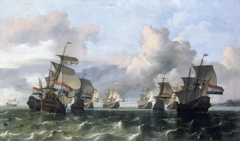 Ludolf Backhuysen I -- Ships of the Dutch East India Company (Escadre Neerlandaise de la Compagnie des Indes). Part 6 Louvre