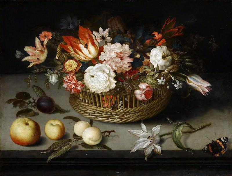 Balthasar van der Ast -- Basket of Flowers. Part 6 Louvre