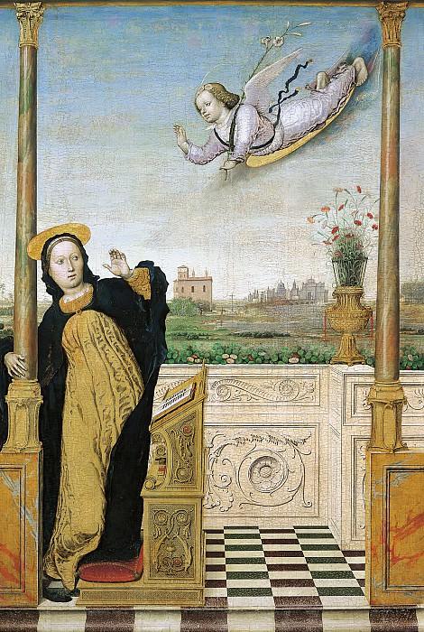 Брачческо, Карло (работал в Лигурии и Ломбардии в 1478-1501) -- Алтарь Благовещения, центр - Благовещение. Part 6 Louvre