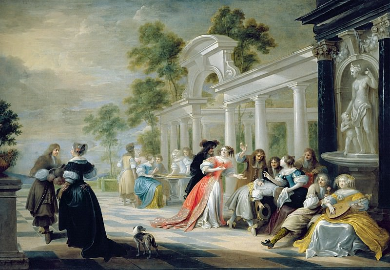 Фламандская школа (17 век) -- Сцена в садовом павильоне. Part 6 Louvre