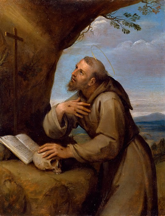 Francesco Albani -- Saint Francis of Assisi Praying before a Crucifix. Part 6 Louvre