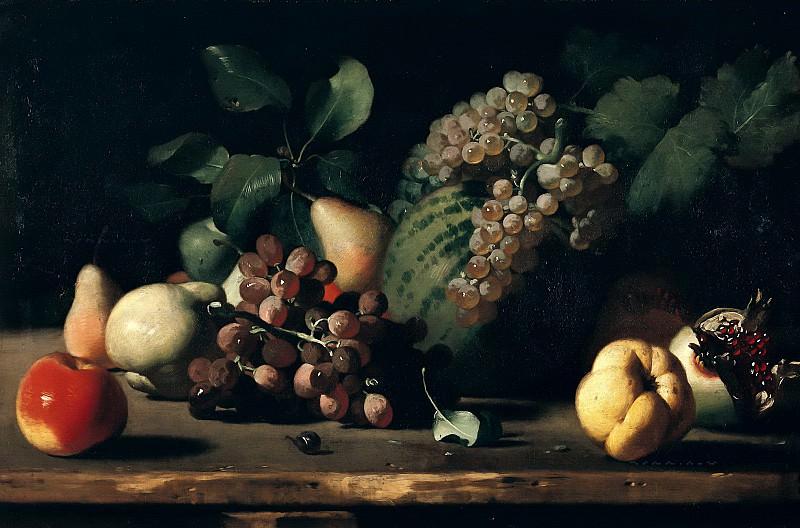Итальянская школа (17 век) -- Натюрморт с виноградом и гранатами. Part 6 Louvre