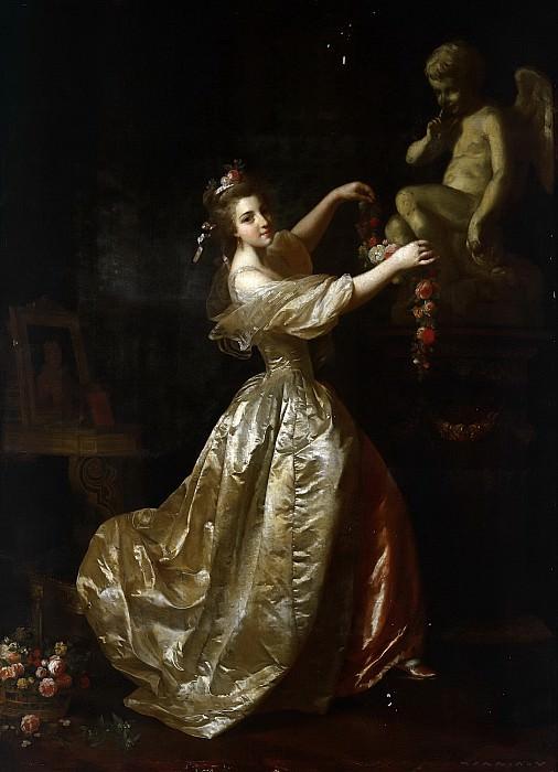 Рослин, Александр (1718 Мальме - 1793 Париж) -- Девушка, украшающая статую Амура цветочными гирляндами. Part 6 Louvre