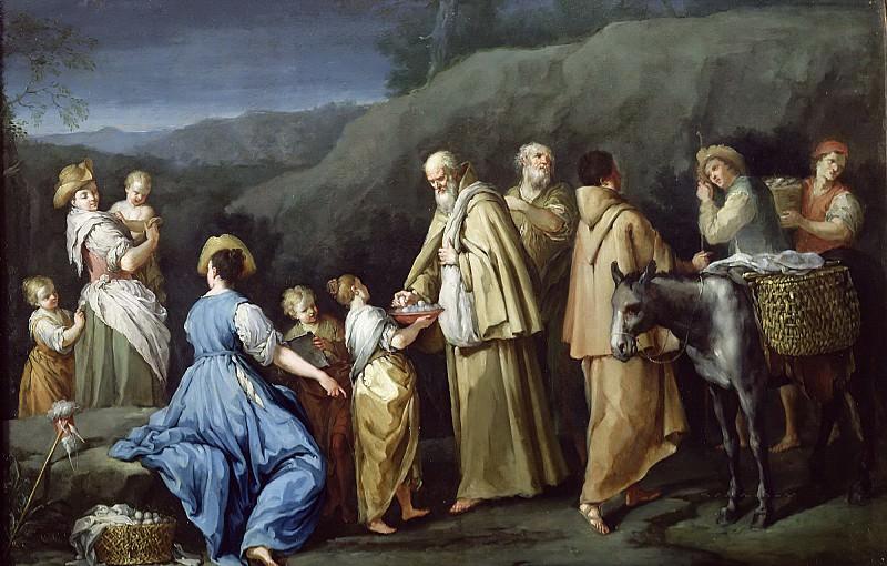 Гамбарини, Джузеппе (Болонья 1680-1725) -- Девочка, угощающая яйцами монахов. Part 6 Louvre